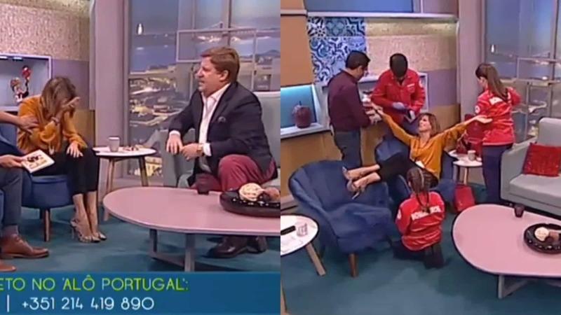 Herman José aflito com falsa indisposição de Ana Marques em direto