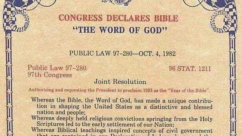 """É verdade que o Congresso americano oficializou a Bíblia como a """"palavra de Deus""""?"""
