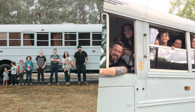 Casal transformou um autocarro escolar numa casa para viajar pelos Estados Unidos com os sete filhos