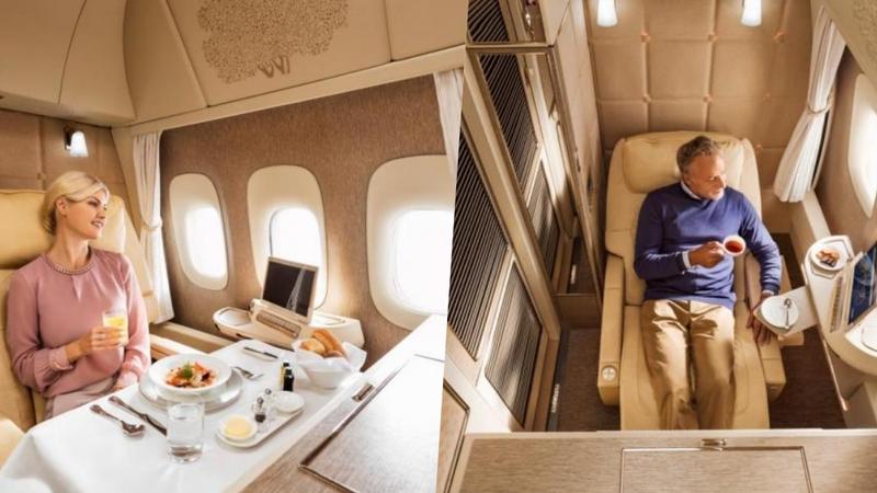 Avião da Emirates tem uma nova suite de primeira classe que é individual e parece um quarto de hotel