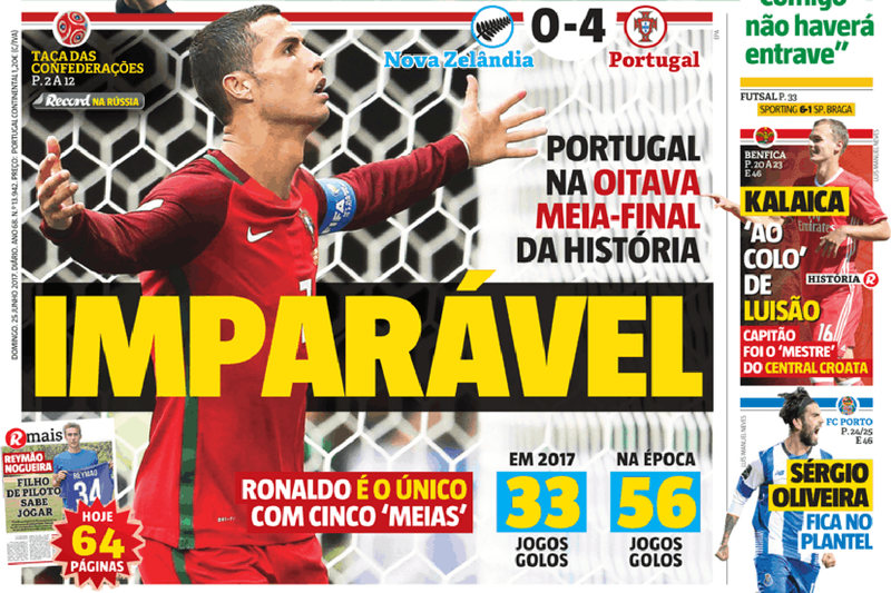 """Portugal """"imparável"""" domina manchetes dos jornais desportivos"""