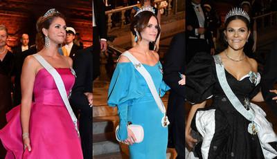 Tiaras e muitos brilhos: os 'looks' das princesas da Suécia nos prémios Nobel