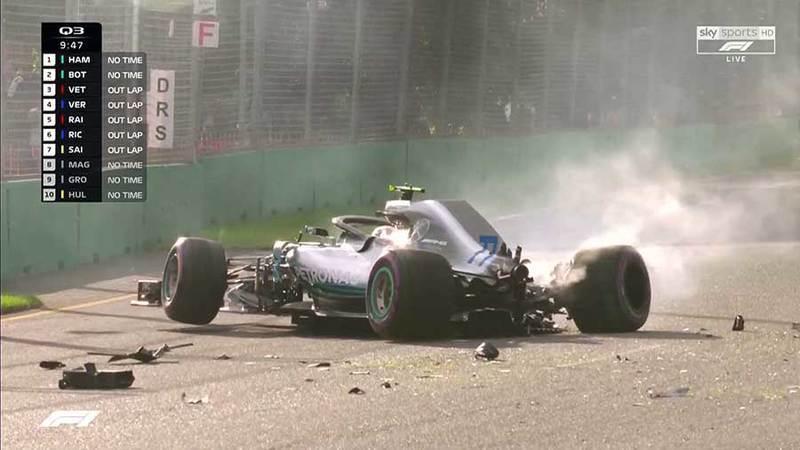 GP Austrália F1: As imagens do acidente de Valtteri Bottas