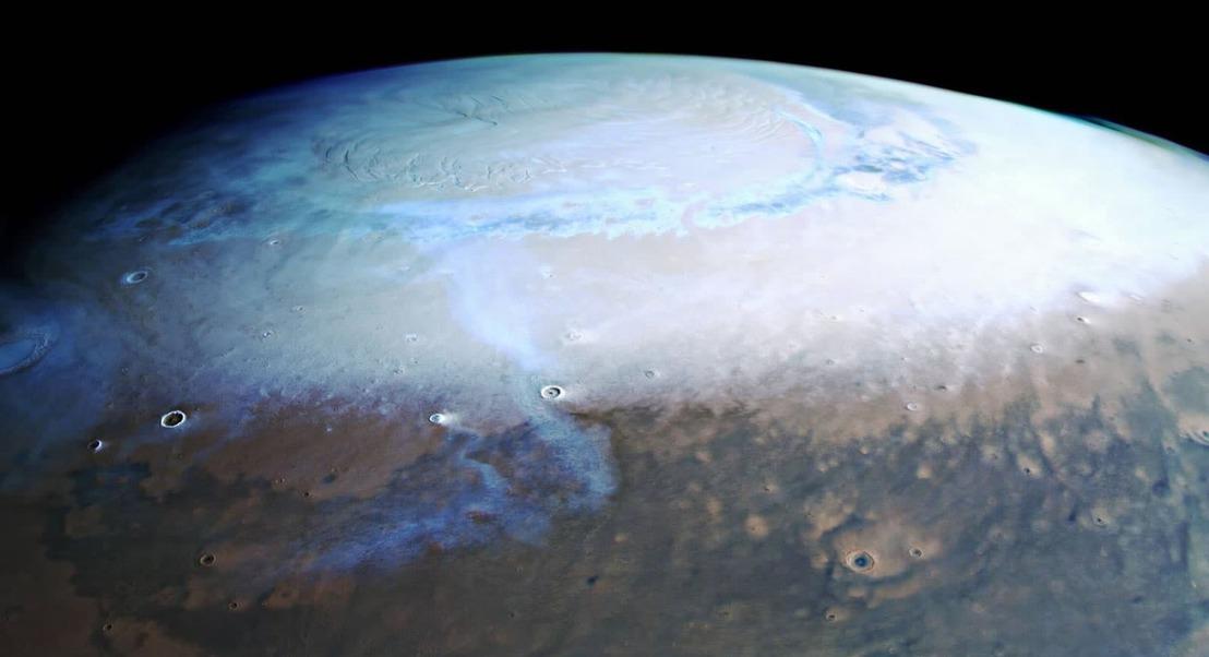 Marte: Imagem incrível mostra o polo norte marciano cheio de neve