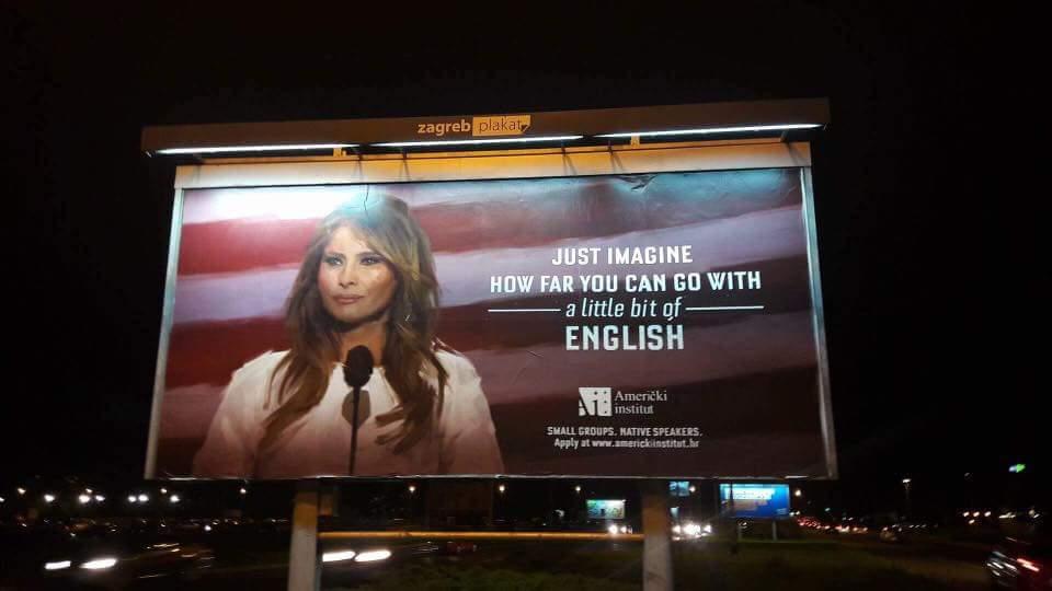 Melania Trump era o incentivo para atrair alunos ao Instituto Americano em Zagreb. Mas a primeira-dama não gostou