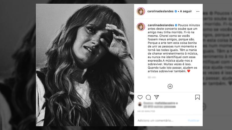 """O texto de Carolina Deslandes que está a emocionar os fãs: """"A arte tem esta coisa bonita de unir as pessoas"""""""