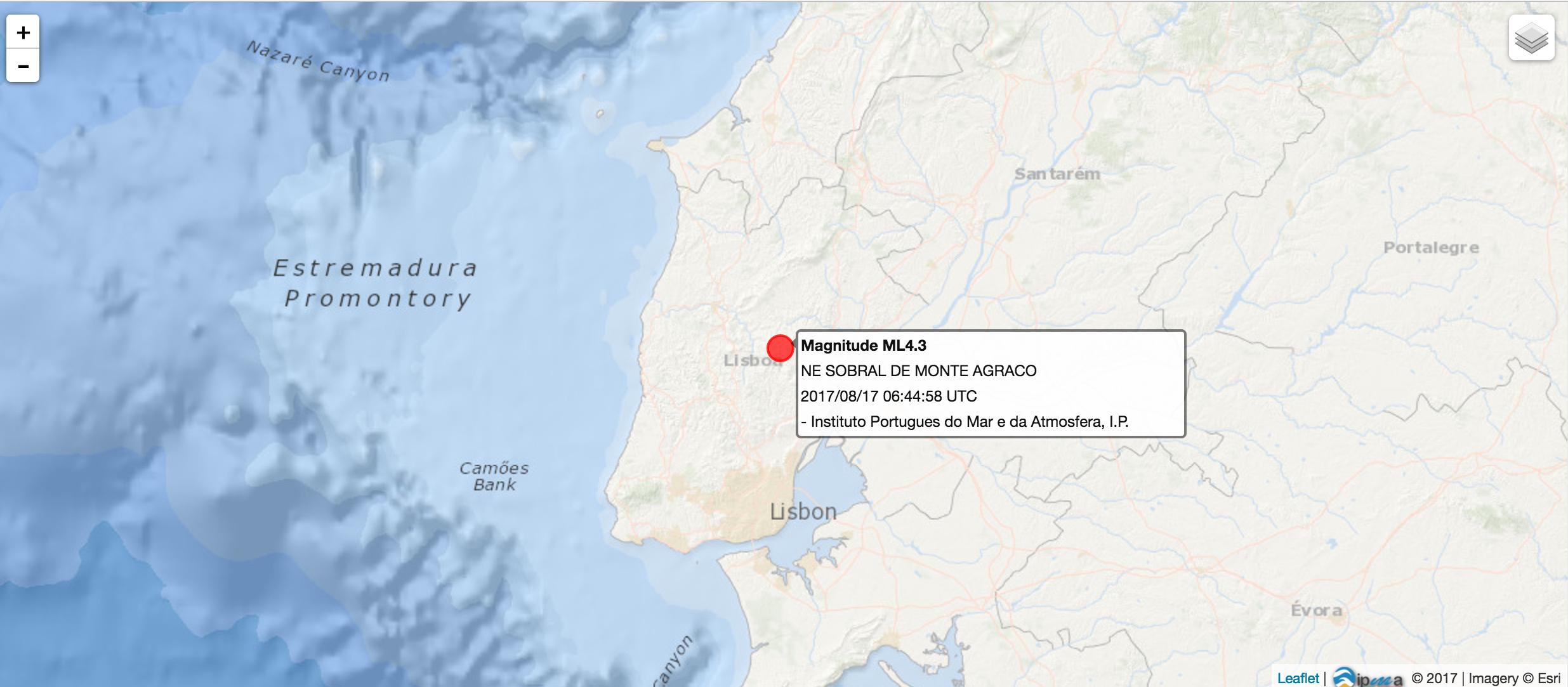Lisboa abanou? Sim, foi um sismo de 4,3 na escala de Richter