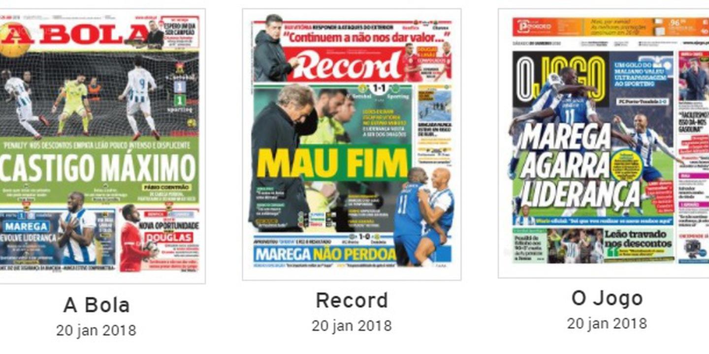 Revista de Imprensa: Empate do Sporting e vitória do FC Porto dominam manchetes desportivas
