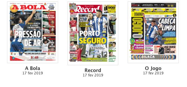 Revista de imprensa: 'Porto seguro' entre 'Pressão de ar' e 'Cabeça limpa'