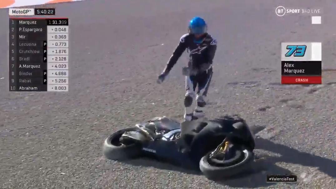 Alex Márquez estreia-se pela Honda com queda