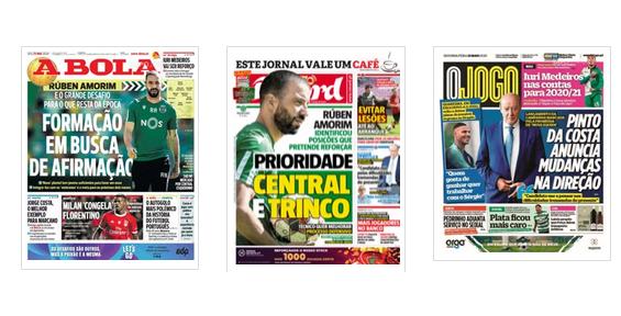 Revista de imprensa: Os planos de Rúben Amorim no Sporting e as mudanças de Pinto da Costa no FC Porto