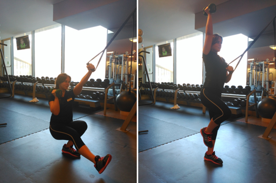 TRX Assisted 1 Leg Squat with 1 Arm Press