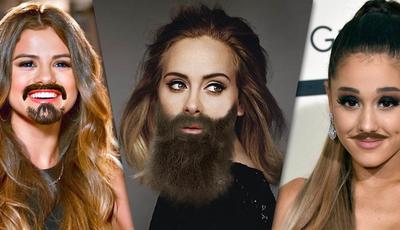 De Adele a Taylor Swift: fãs acrescentam barba a celebridades em montagens hilariantes